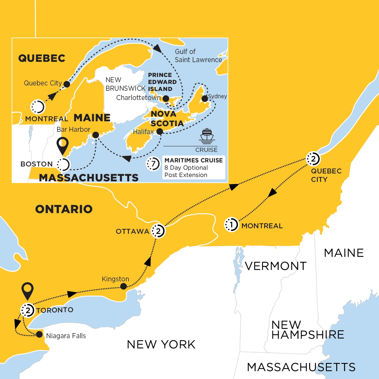 Essence of Eastern Canada with Maritimes Cruise Inside Cabin Map
