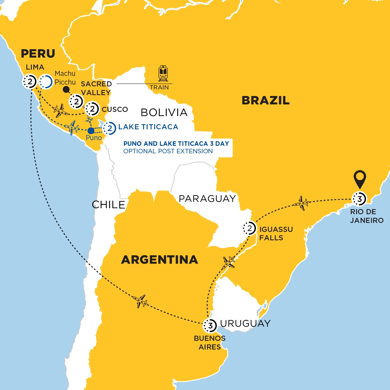 South America Discovery with Puno and Lake Titicaca Optional Extension Map