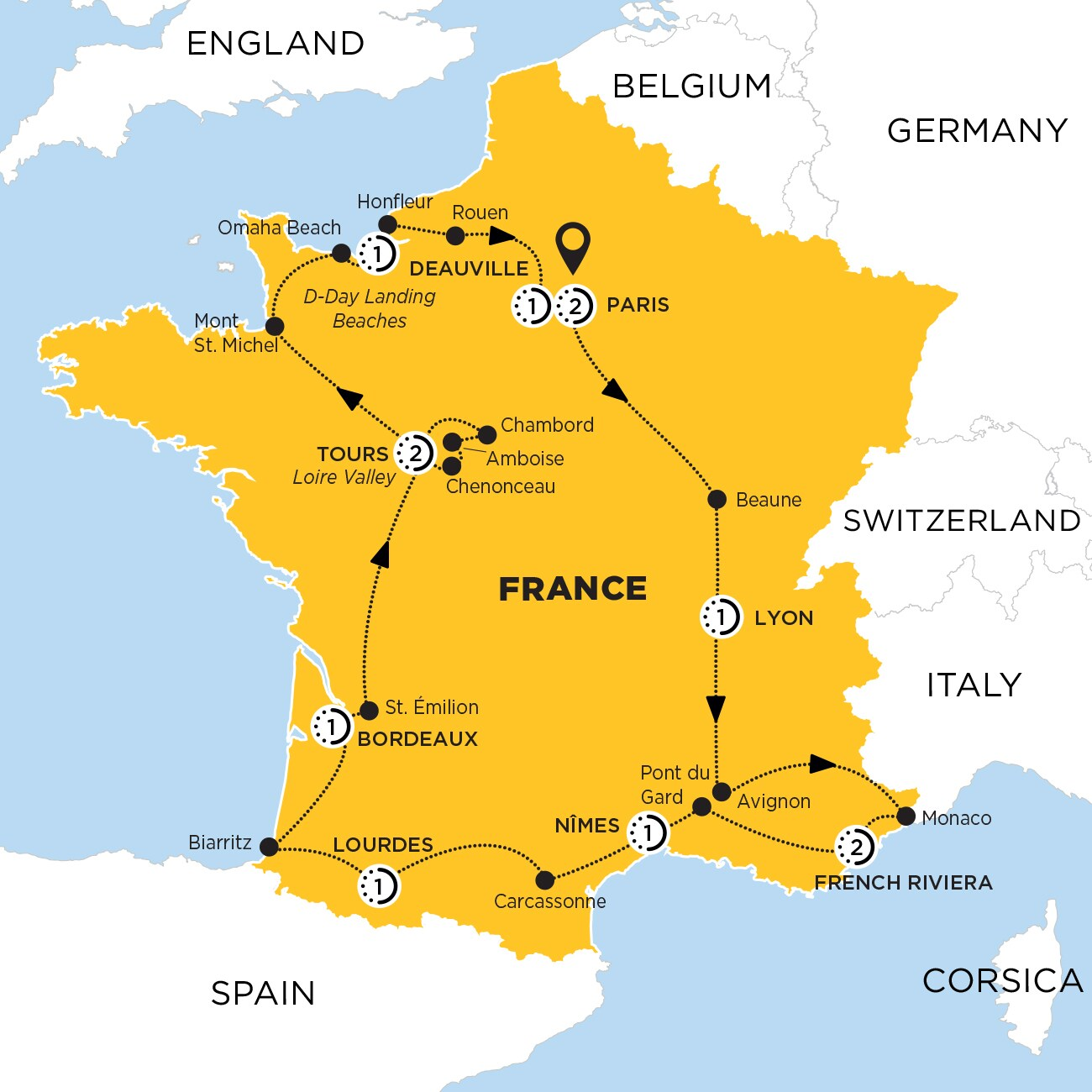 Highlights of France Map