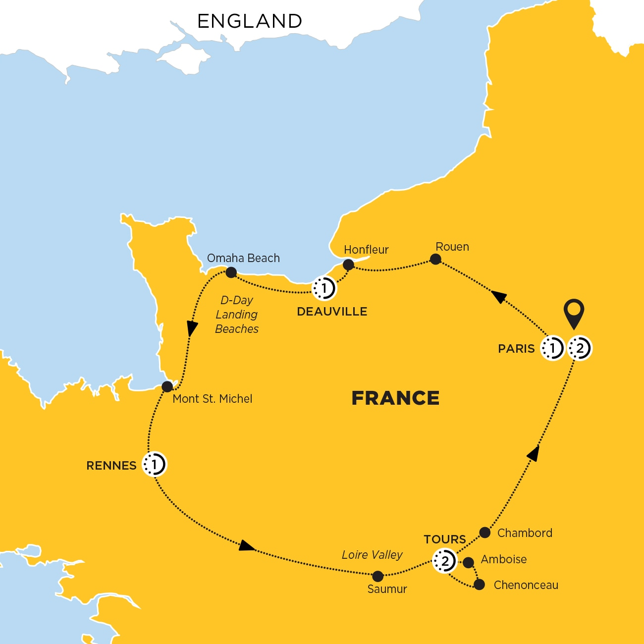Jewels of France including Normandy Map