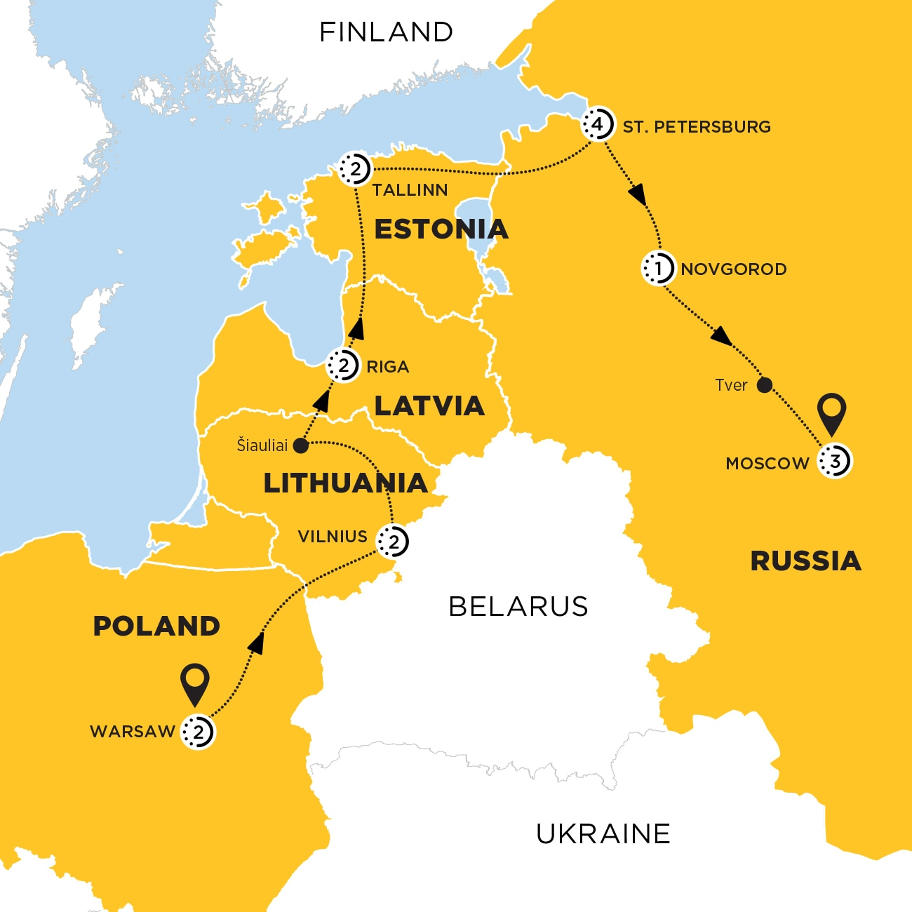 Discover the Baltics and Russia Map