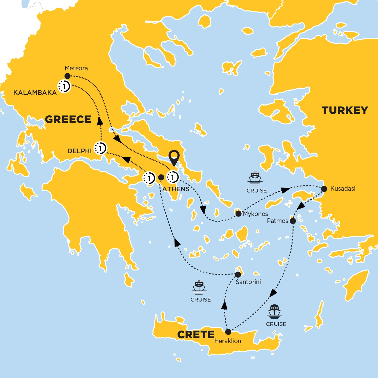 Highlights of Greece with 3-Day Aegean Cruise Moderate A Map