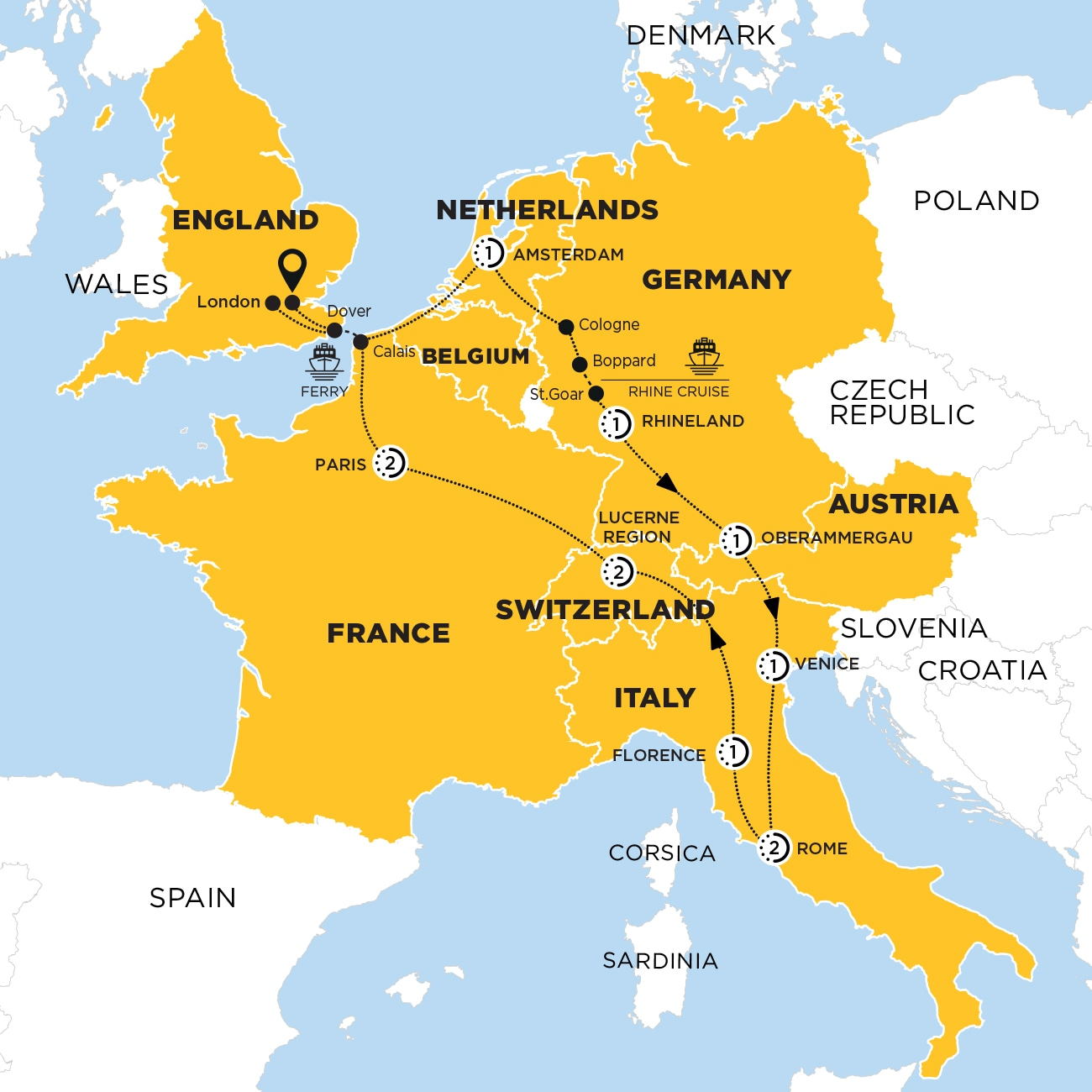European Experience End London with Oberammergau Map