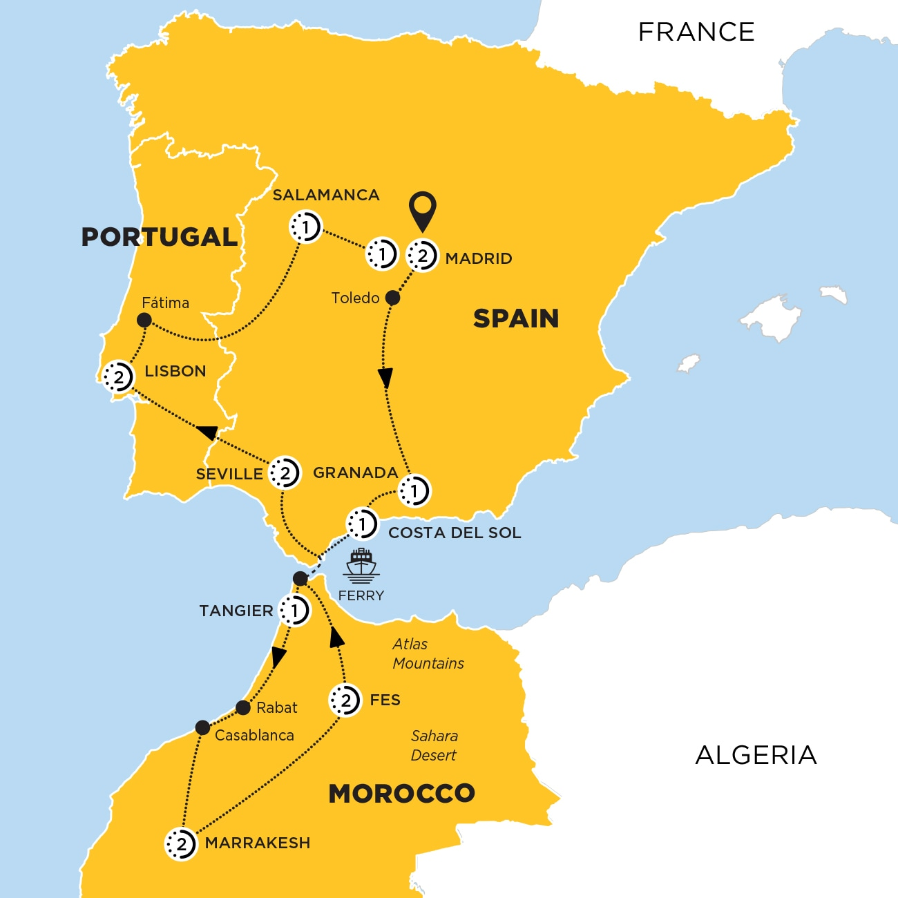 Highlights of Spain, Morocco and Portugal Map