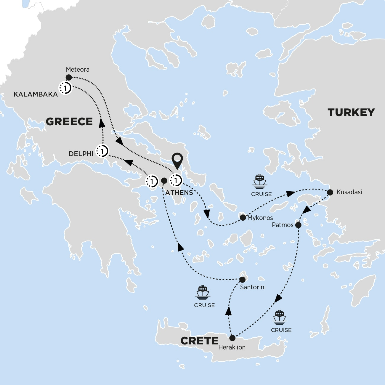 Highlights of Greece with 3-Day Aegean Cruise Moderate B Map