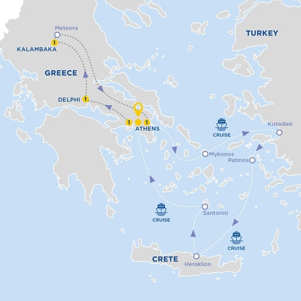 Highlights of Greece with 3-Day Aegean Cruise Moderate B