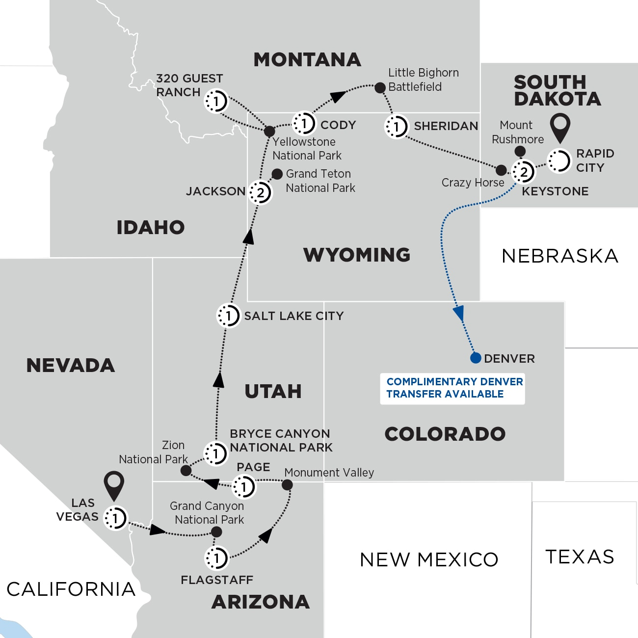 Spectacular Canyons and National Parks End Rapid City Map
