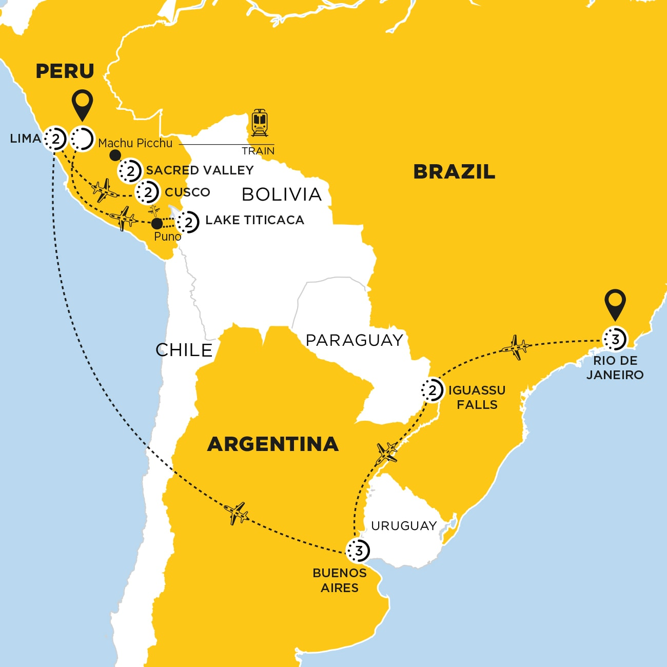 South America Discovery with Puno and Lake Titicaca Map