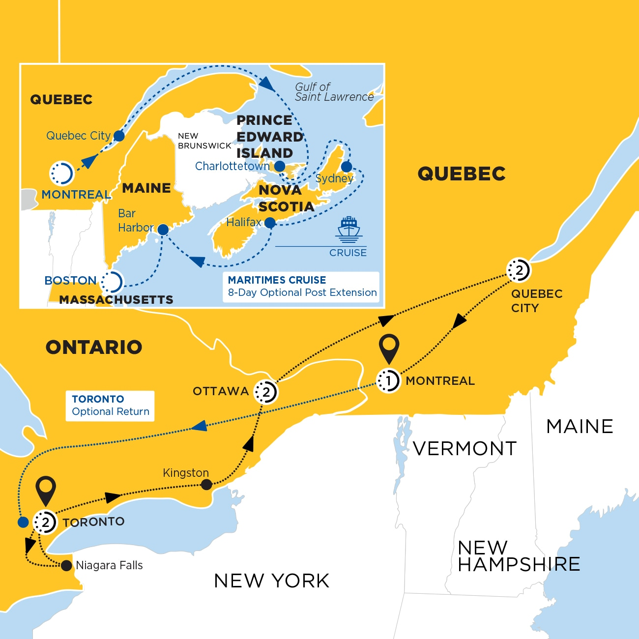 Essence of Eastern Canada end Montreal Map