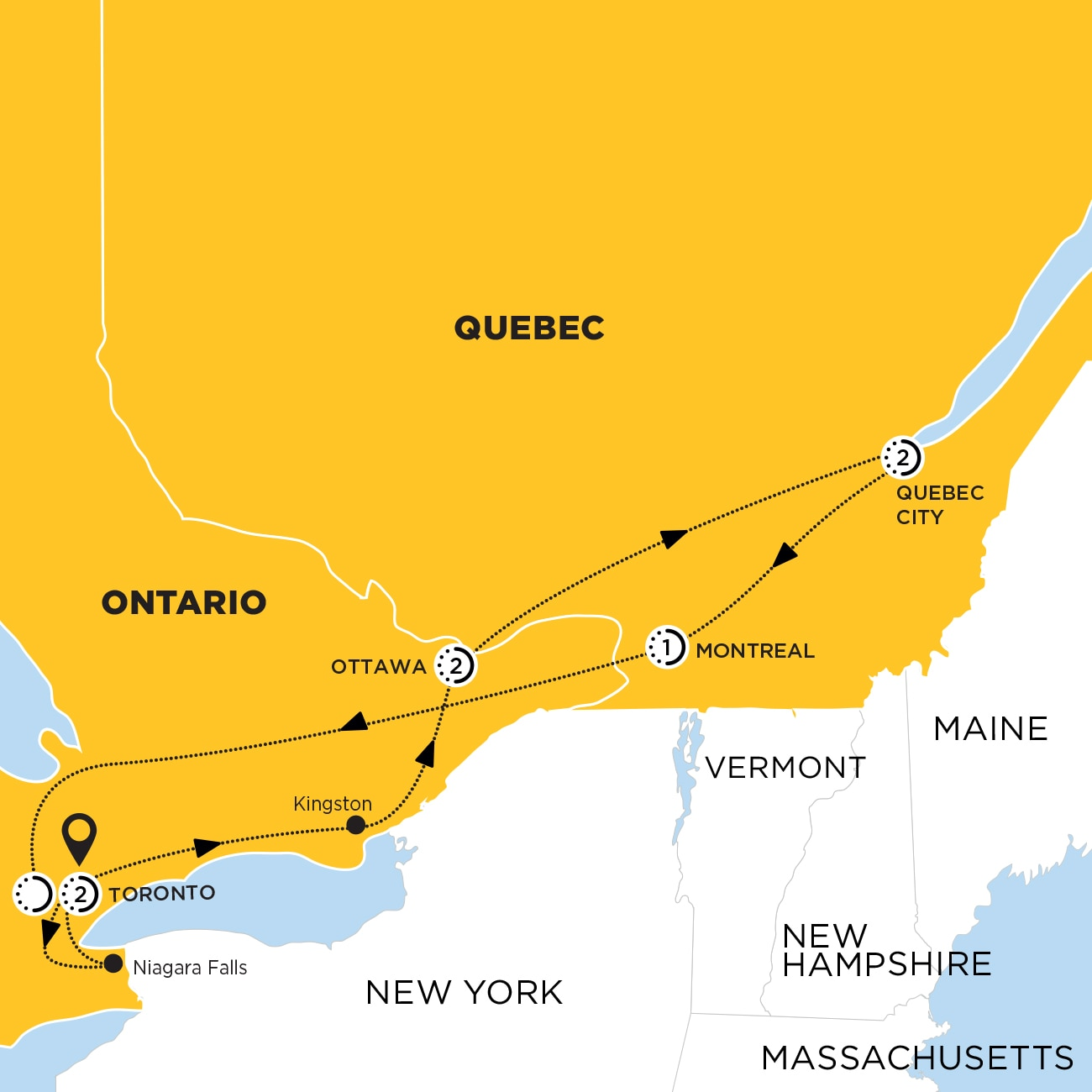 Essence of Eastern Canada end Toronto Map