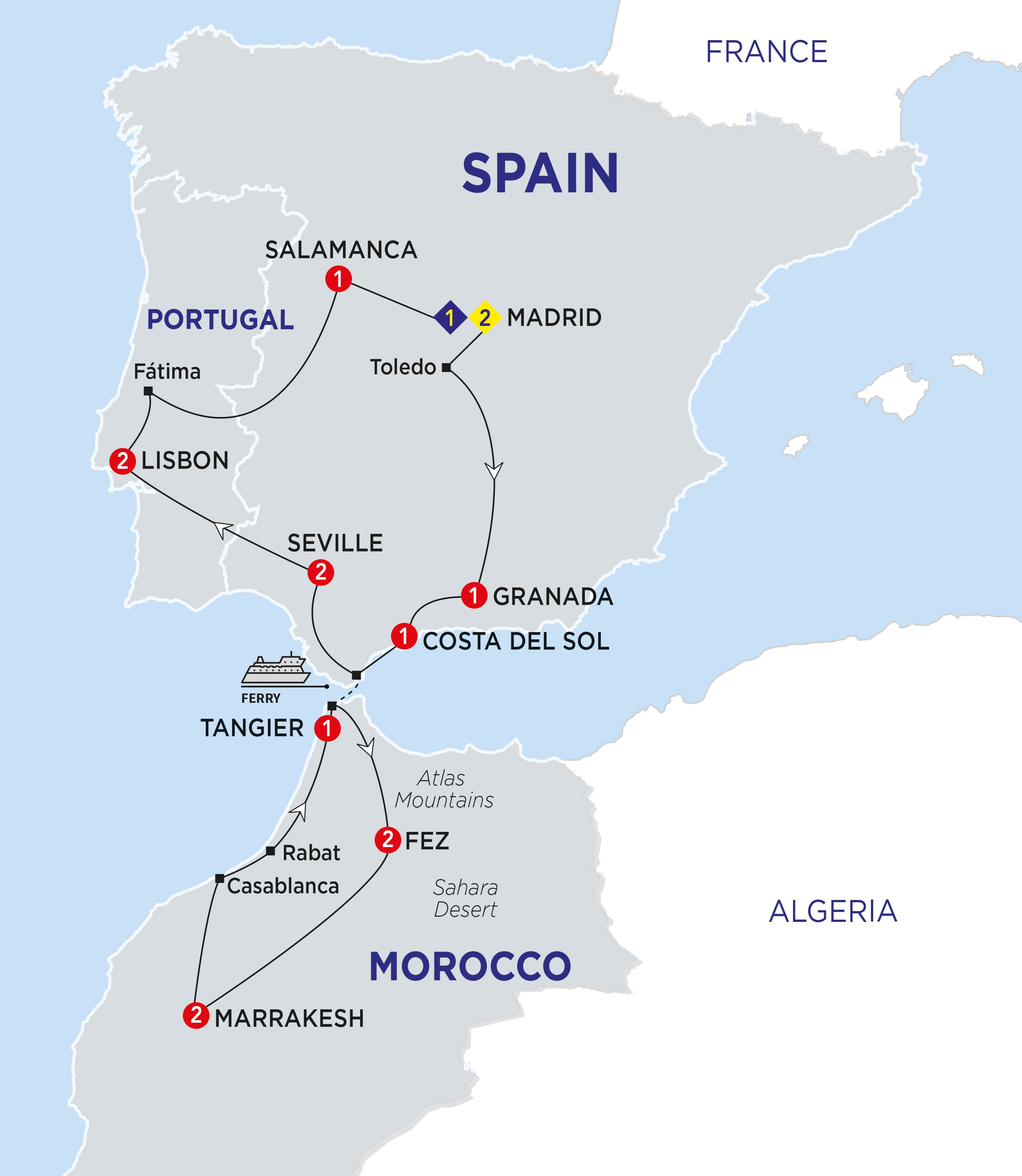 Map Of Spain Morocco And Portugal.Highlights Of Spain Morocco And Portugal Trafalgar En Sg
