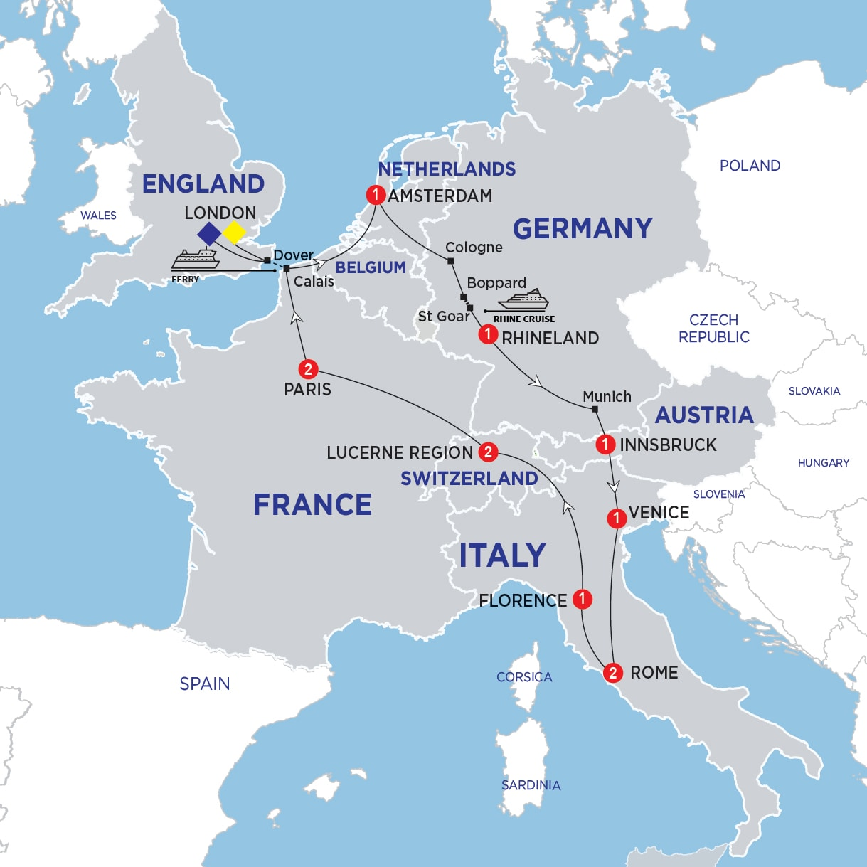 Map Of England And Europe.Europe And Britain 2019 Costsaver Home United Kingdom Deals